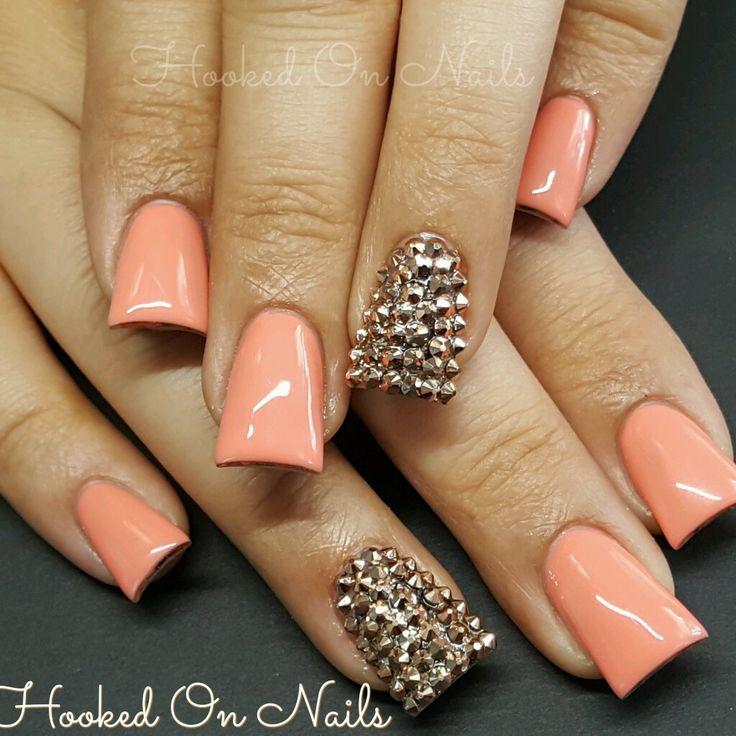 Coral nails flare nails swarovski crystals