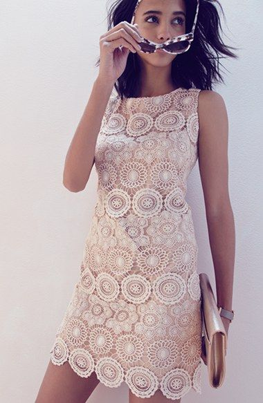 Eliza J Crochet Sleeveless Shift Dress (Regular & Petite) | Nordstrom