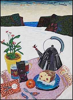Anne Meredith Barry 1932 - 2003 Canadian mixed media on paper Winter Picnic #26 - Cocoa Amore