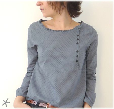 blouse--cute with fold down one side--use different buttons to match holiday, outfit, or really unique ones.