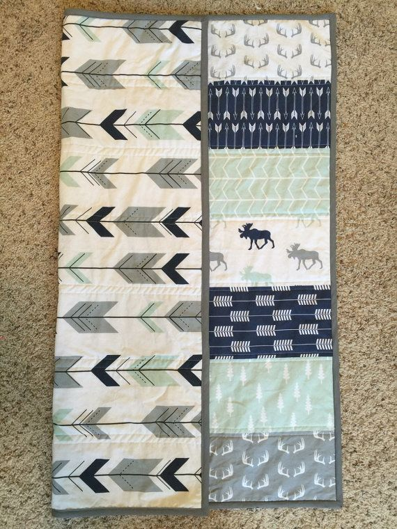 Woodland baby quilt baby boy nursery moose and от TheCoralCottage