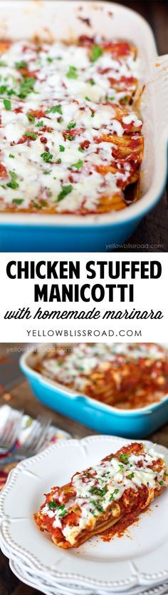 Chicken Stuffed Manicotti with Homemade Marinara for family dinner.
