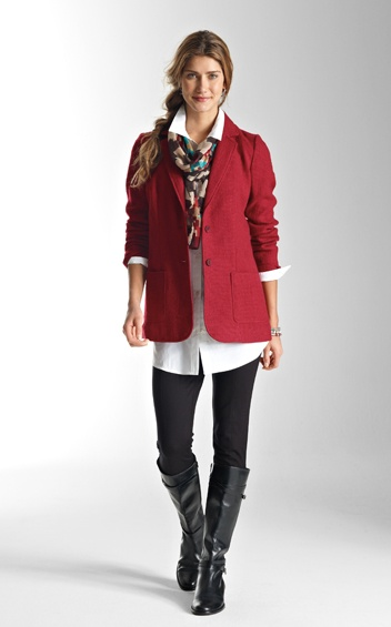 Love the long shirt with the leggings and jacket and boots.