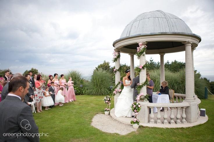 Outdoor wedding under the pavilion at Tregenna Castle