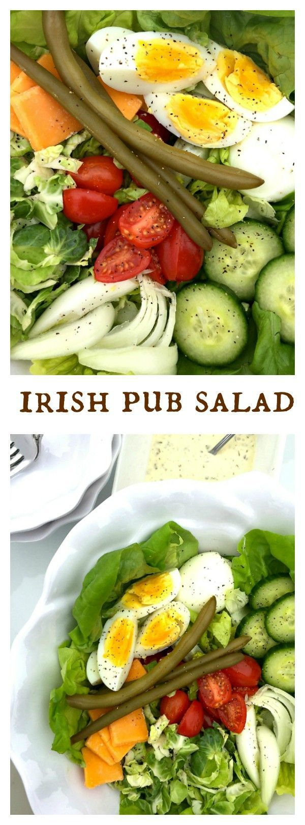 Delicious for St. Patrick's Day or any time of year, an Irish Pub salad is not about Irish potatoes; rather it is all about serving a crunchy, festive salad, with hard cooked eggs and cheese. Serve with a side of tangy Tarragon Dressing. #StPatricksDay #I