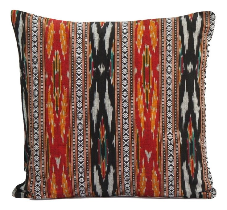 SharePyar Handloom Cushion Cover - Red-Black Traditional Sambalpuri Ikat (Pure cotton yarn dyed handwoven)