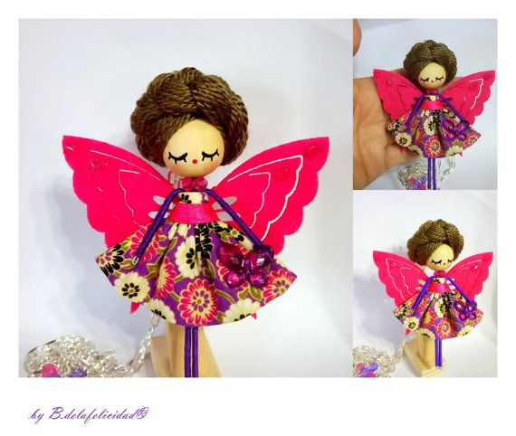 Brooch and Necklace Fairy jewelry doll by Delafelicidad on Etsy