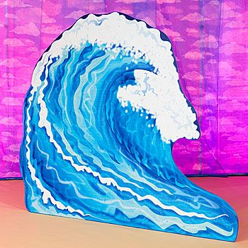 The Hawaii Wave Standee would make the Big Kahuna proud with the large blue waves and white cap. Each cardboard Wave Standee measures 8 feet tall x 9 feet eight inches wide.