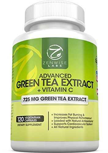 Green Tea Extract Supplement with EGCG for Weight Loss - Decaffeinated Vegetarian Pills for Metabolism Boost and Heart Health with Vitamin C - Natural Source of Energy- 120 Vcaps