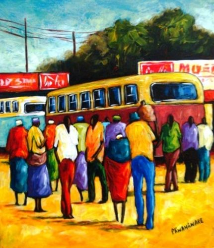 Acrylic Painting - Bus Terminus by Peter Kwangware