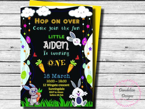 Bunny birthday boy invitation Bunnies invitation Bunnies
