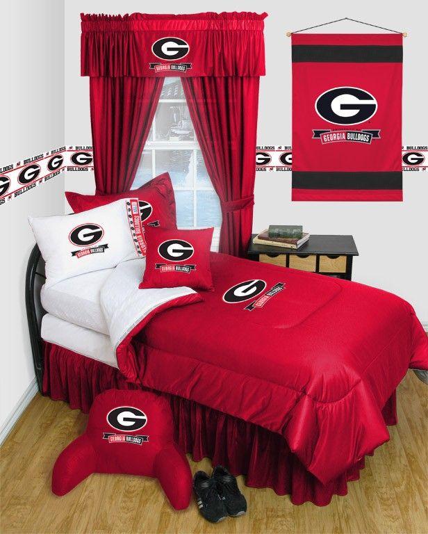Georgia UGA Bulldogs NCAA 11pc LR Full Comforter/Sheets Bed Room Set