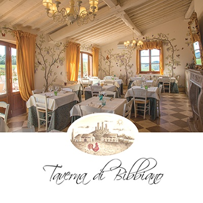 The romantic Restaurant Taverna di Bibbiano between  Colle di Val d'Elsa (Siena) and San Gimignano (Siena). At 30 minutes drive from Siena and at 40 minutes drive from Florence