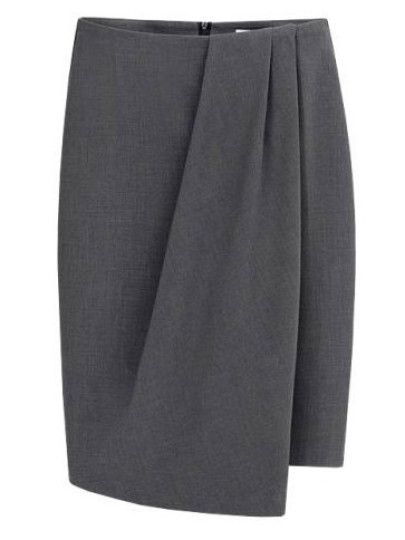 Grey Folds Asymmetrical Pencil Skirt