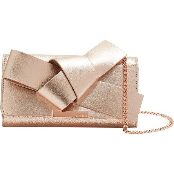Ted Baker Lyle Giant Knot Bow Leather Evening Bag ($150) ❤ liked on Polyvore featuring bags, handbags, rose gold, pink purse, pink leather purse, evening purses, bow purse and ted baker purse