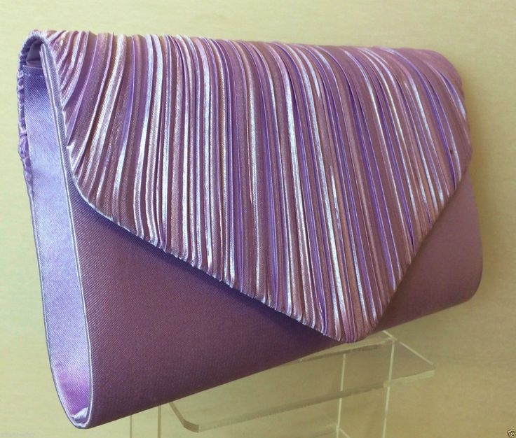 Lilac Pleated Satin Envelope Evening Clutch Bag