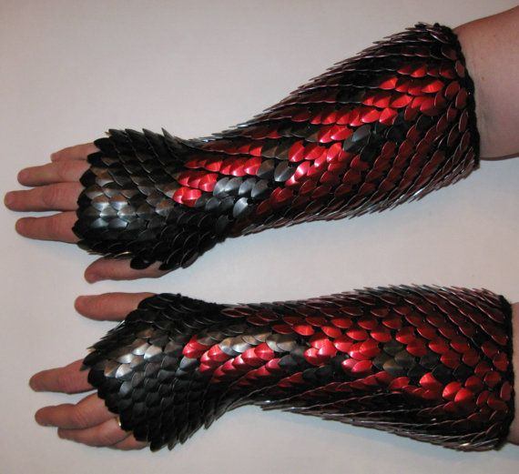 Scale Maille Knitted Dragonhide Armor Gauntlets Elbow Length Fully Scaled, Custom Made for You. $144.00, via Etsy.