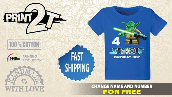 Lego Star Wars Yoda Birthday T-Shirt / Custom name and by Print2T