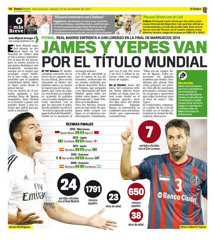 James y Yepes van por el título mundial. Textos: Luis Miguel Arango J. Empresa: Q'hubo Barranquilla.