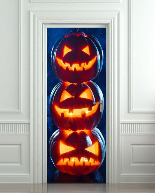 Door STICKER pumpkins Halloween mural decal poster #Unbranded