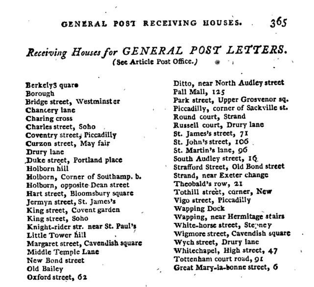 """ General Post Receiving Offices,"" p. 365-366 The Picture of London for 1807, Being a Correct Guide to All the Curiosities, Amusements, Exhibitions, Public Establishments and remarkable Objects in and near London."