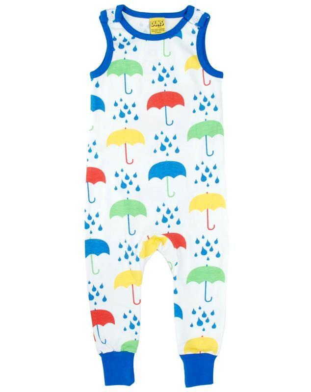 Duns Sweden Organic Dungarees - Umbrella - White Retro Baby Clothes - Baby Boy clothes - Danish Baby Clothes - Smafolk - Toddler clothing - Baby Clothing - Baby clothes Online