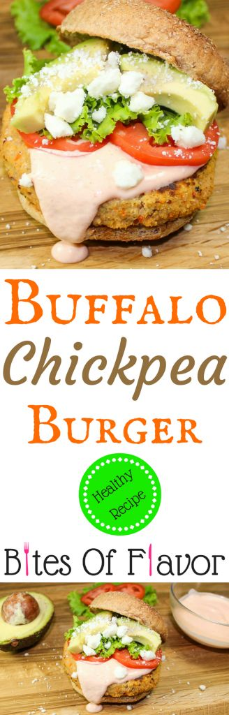 Buffalo Chickpea Burgers are full of all the buffalo taste you love.  Low-fat & flavorful.  Guaranteed to impress any burger lover!  PERFECT for your next football party!  Weight Watcher friendly (10 SmartPoints per burger).