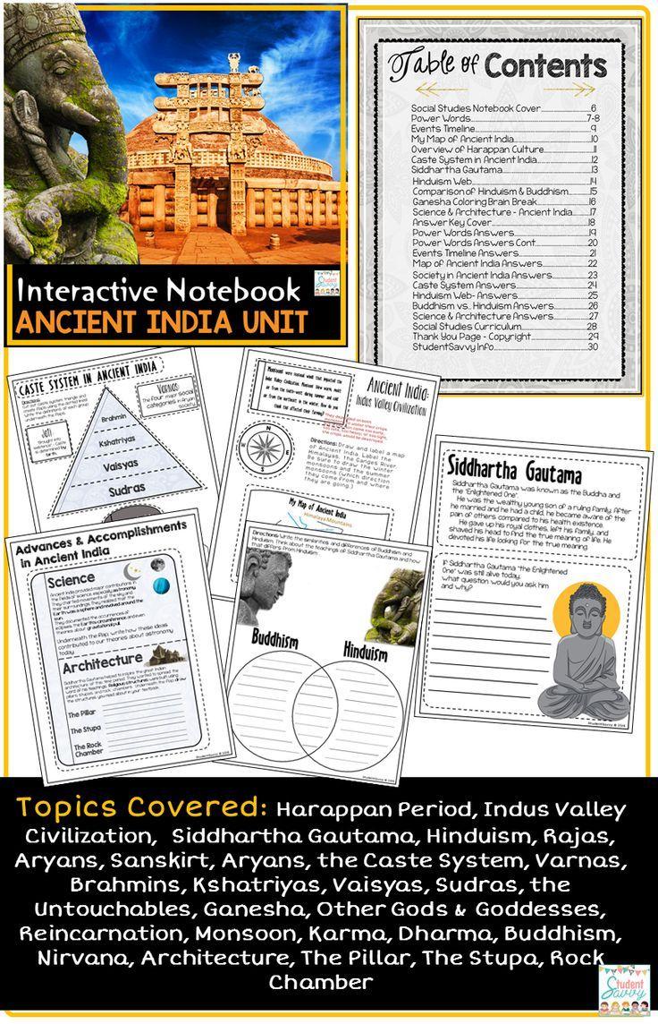 Ancient India Interactive Notebook Google Classroom Distance Learning Ancient India Interactive Notebooks Social Studies Interactive Notebooks