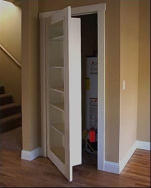 Replace a closet door with a book case! I could love this! - Click image to find more diy & crafts Pinterest pins