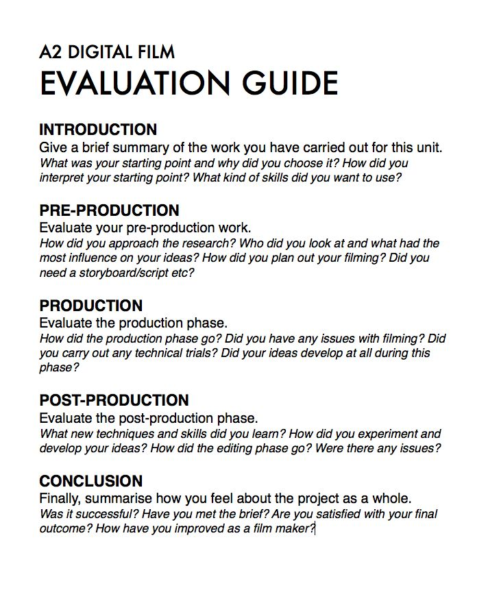 A Exam Evaluation Guide  A Digital Film Controlled Assignment