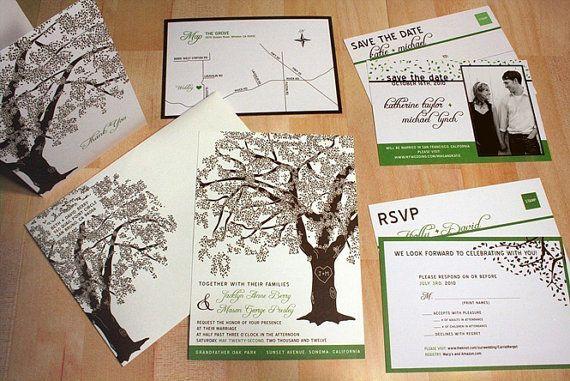 SAMPLE of Fall Oak Tree Pocketfold Wedding by vohandmade on Etsy, $3.00