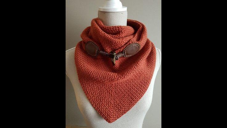 sjaal met knoop ; triangle scarf moss stitch