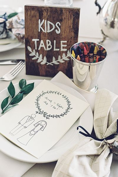 Don't forget about the little ones! Leave crayons and a coloring book at their table so they can stay entertained.Related: 100 Times Kids Stole the Show at a Wedding