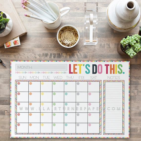 Monthly Calendar Desk Pad Colorful Chevron by BlairTurnerPaper