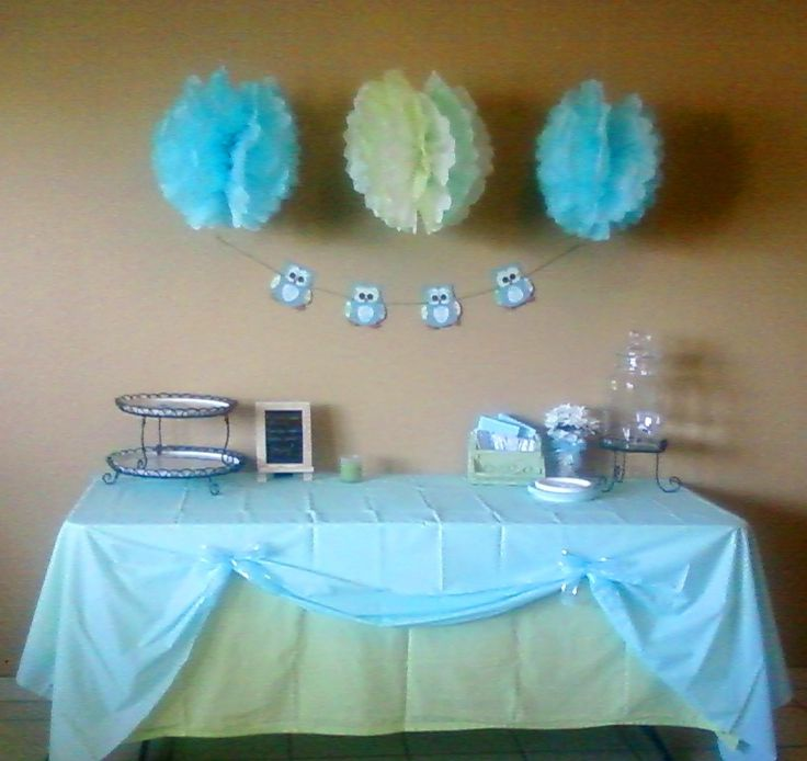 table decorations for parties tablecloths lime green twin flat sheet light blue plastic owl baby shower