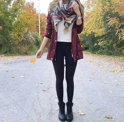 plaid-scarf-with-burgundy-jacket- Super cute winter outfits for girls