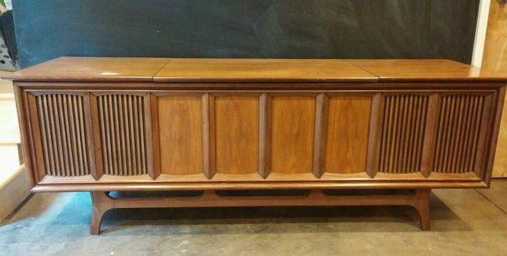 VTG console stereo rebuilt hifi record player walnut MCM Danish modern long&low! #GE #eldoradomodern