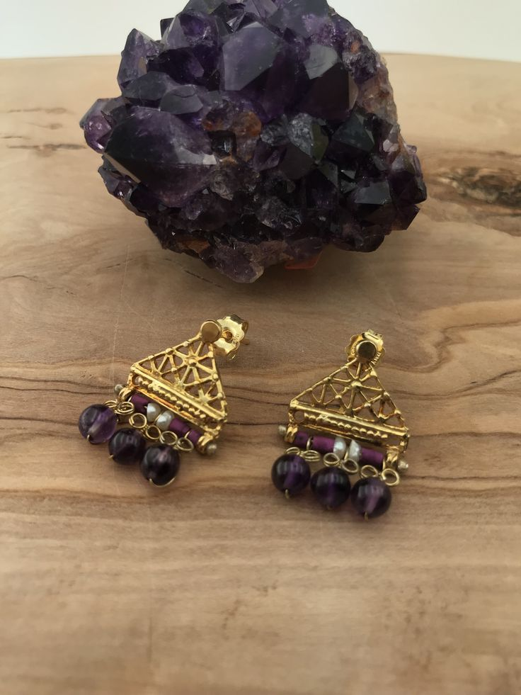 Hittite style Earrings  silver&goldplated with tourmaline stones