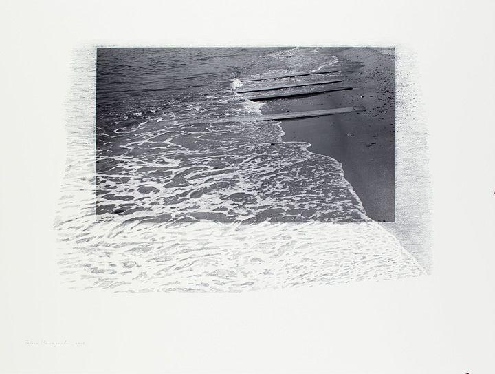 河口龍夫『<陸と海>からの時相』1970-2016、写真・画用紙・スチレンボード・鉛筆、75.7×99.7cm