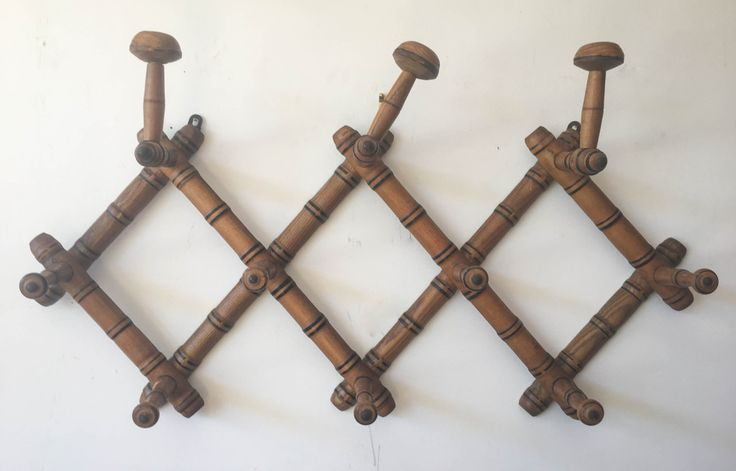 Vintage Faux Bamboo Coat Rack 10 Knobs | Gild and Co. - so gorgeous and will terrific texture, character and interest, plus are perfect with the Asian pieces - maybe a smaller one by front door (if space permits) for guests and this larger one in the mudroom/laundry for jackets, dog leashes, bags, etc. since space is so limited -- cool with polished concrete floors and black doors
