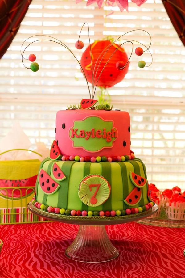 Watermelon Theme Birthday Cake...minus the wire looking accessories..