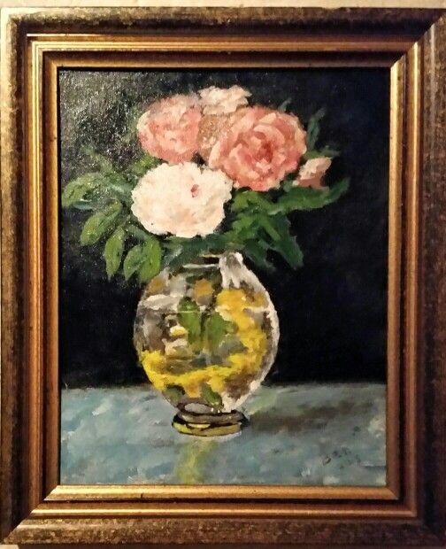 Bloemen op vaas 30x24