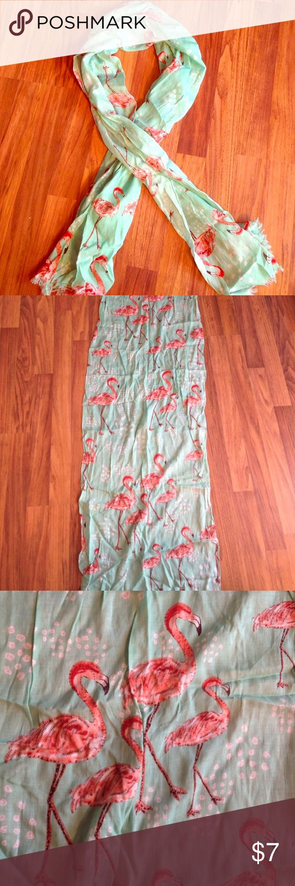 Flamingo scarf Mint and coral flamingo print scarf. This is a scarf designed to loop over the neck. Similar size to that of a Lilly Pulitzer Murfee scarf. Purchased at Cracker Barrel. Price firm unless bundled. 29 palms Accessories Scarves & Wraps