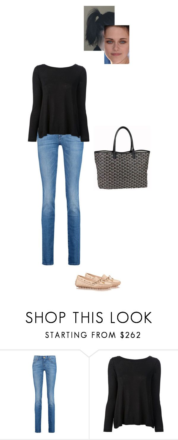 """""""Sem título #7615"""" by gracebeckett on Polyvore featuring moda, 7 For All Mankind, RED Valentino e Goyard"""