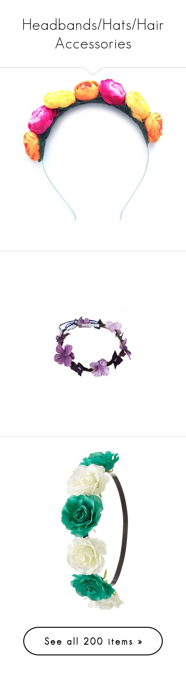 """Headbands/Hats/Hair Accessories"" by animefashiondj ❤ liked on Polyvore featuring accessories, hair accessories, flower crown, multicolour, flower garland headband, floral garland, crown headband, flower wreath headband, flower garland and hair"