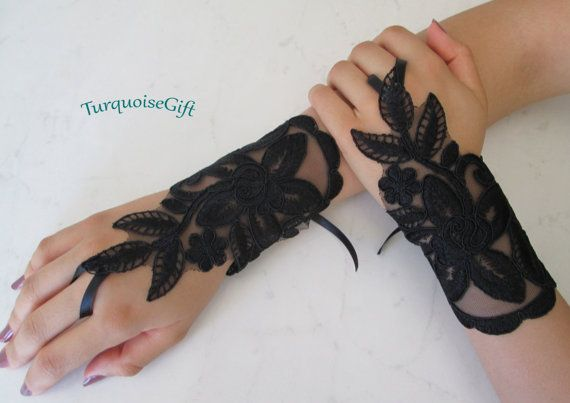 Free ship Wedding lace gloves Bridal accessories by TurquoiseGift