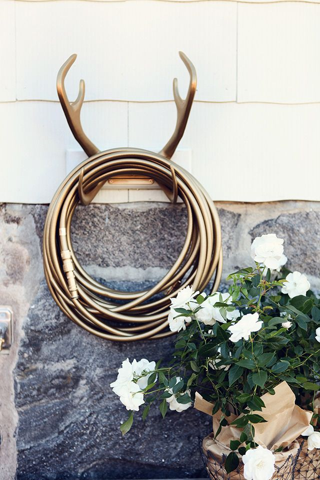 Antlers make great hose holders for outside or in!
