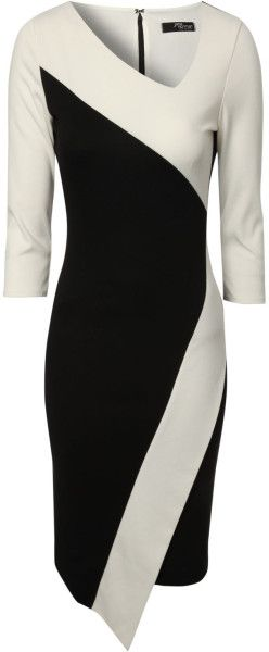 Asymmetric Monochrome Dress - Lyst