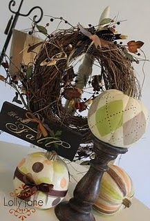 I want to make the argyle pumpkin so bad! I love the idea of putting it on a candlestick!