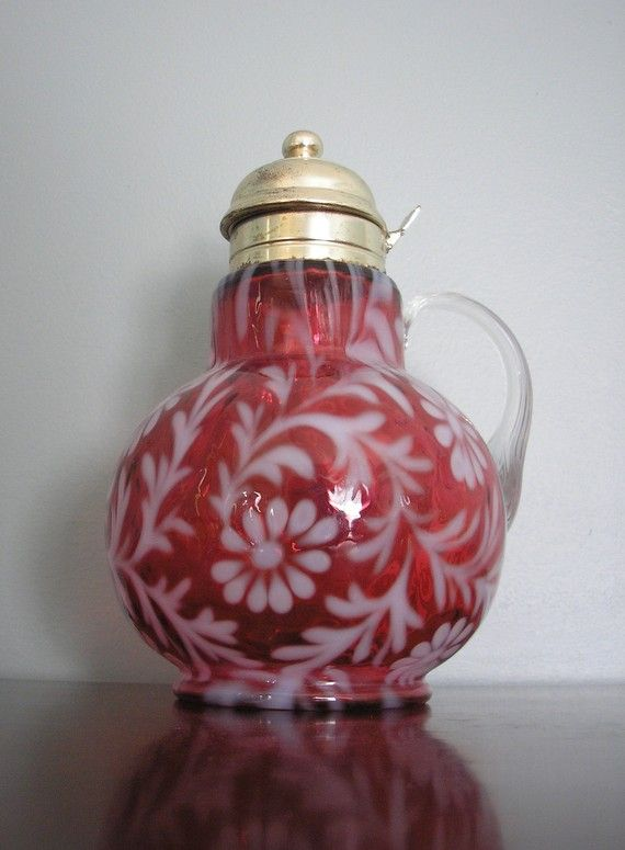 Antique Daisy and Fern Pattern Fenton Syrup Pitcher: Fenton Glasses, Cranberries Glasses, Antiques Daisies, Fenton Art, Pitcher, Antiques Glassware, Fenton Syrup, Fenton Glassware, Art Glasses